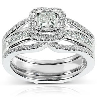 Annello 14k Gold 1 1/4ct TDW Princess Cut Diamond Bridal Ring Set (H-I, I1-I2)