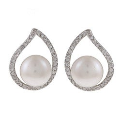 Kabella Sterling Silver Pearl and Cubic Zirconia Teardrop Earrings (8-9mm)