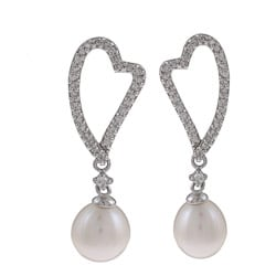 Kabella Sterling Silver FW Pearl and Cubic Zirconia Heart Earrings (7-8 mm)