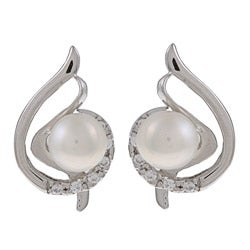 Kabella Sterling Silver Pearl and Cubic Zirconia Musical Note Earrings (6-7mm)