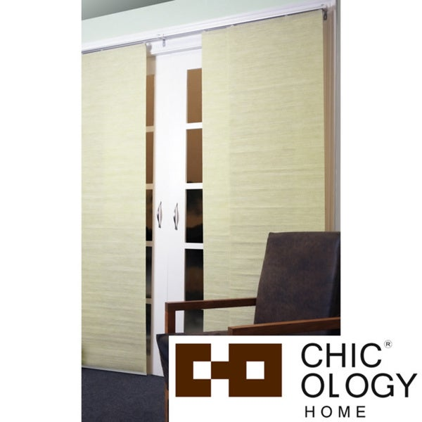 Chicology Adjustable Sliding Panel Cordless Shade Double Rail Track Privacy Fabric 80-inch x 96-inch Kansas Nature