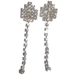 Detti Originals Silvertone Clear Crystal Post Dangle Earrings