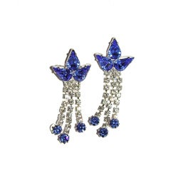 Detti Originals Silvertone Blue and White Crystal Earrings