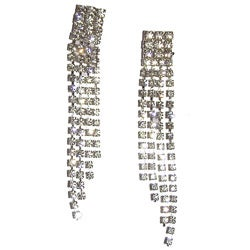 Detti Originals Silvertone Swinging Clear Crystal Clip Dangle Earrings
