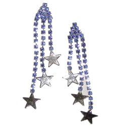 Detti Originals Silvertone Tri-star Blue Crystal Post Dangle Earrings