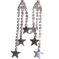 Detti Originals Silvertone Tri-star Crystal Post Dangle Earrings