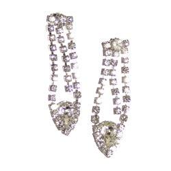 Detti Originals Silvertone Clear Crystal Pear Dangle Earrings