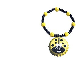 Yellow Ladybug Bottle Cap Charm Bracelet