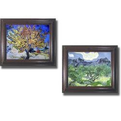Vincent Van Gogh 'Mulberry Tree and Olive Trees' Framed 2-piece Canvas Art Set