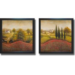 Michael Marcon 'Flourishing Vineyard I and II' Framed 2-piece Canvas Art Set