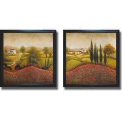 Michael Marcon 'Flourishing Vineyard I and II' Framed 2-piece Canvas Art Set