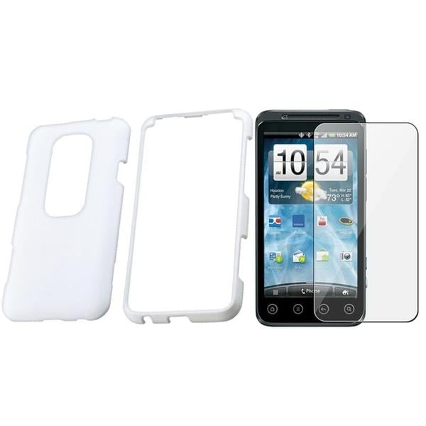White Rubber Case/ Screen Protector for HTC EVO 3D