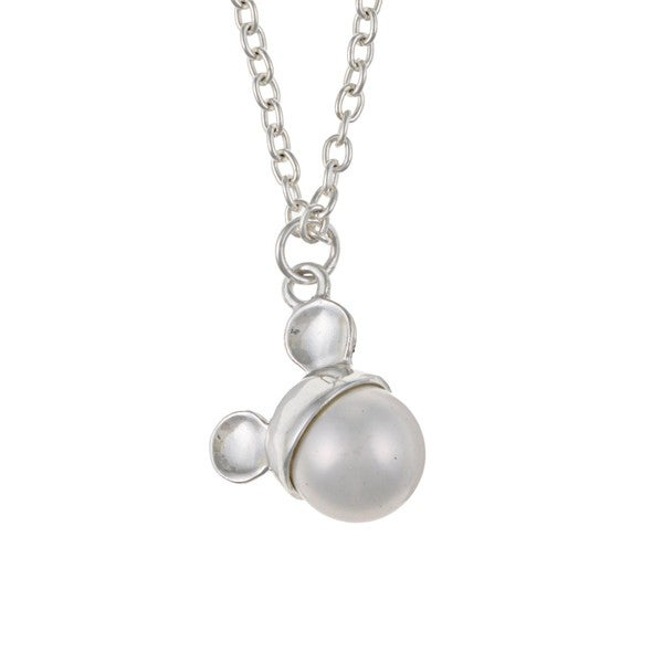 Disney's Mickey Mouse Sterling Silver Faux Pearl Necklace