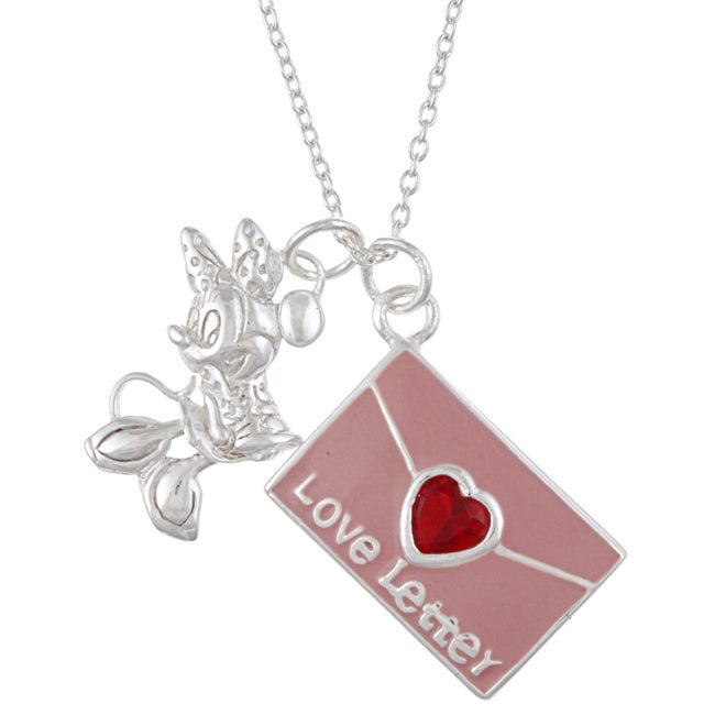 Disney's Minnie Mouse Sterling Silver Enamel/ CZ Love Letter Necklace