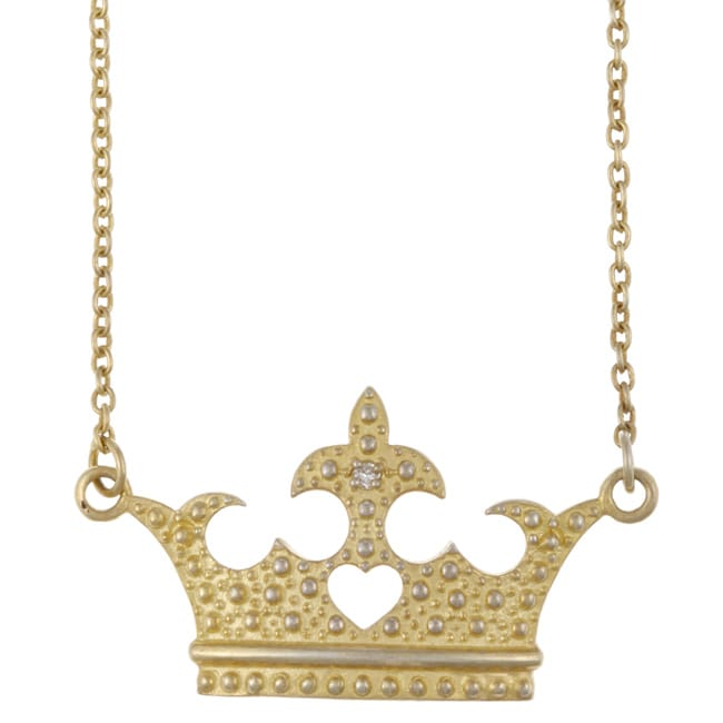 Contessa Gold over Silver Clear Crystal Princess Crown Necklace