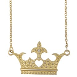 Gold over Silver Clear Crystal Princess Crown Necklace