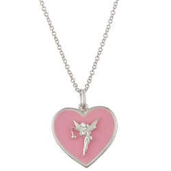 Disney's Tinkerbell Sterling Silver Pink Enamel Heart Necklace
