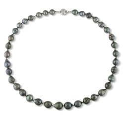 14k White Gold Black Tahitian Pearl Necklace (8-10 mm)