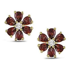 Miadora 10k Yellow Gold Garnet and 1/6ct TDW Stud Earrings (G-H, I2)