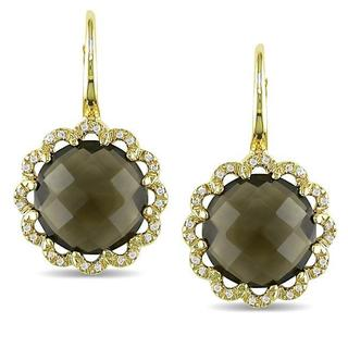 Miadora Signature Collection 18k Yellow Gold Smokey Quartz and Cubic Zirconia Earrings