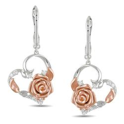 Miadora 14k White and Rose Gold 1/5ct TDW Diamond Flower Earrings (G-H, SI1-SI2)