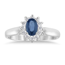 10k White Gold Sapphire and 1/5ct TDW Diamond Ring (J-K, I1-I2)