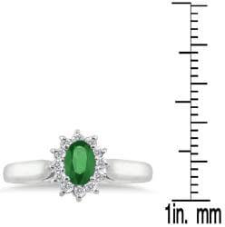 10k White Gold Emerald and 1/5ct TDW Diamond Ring (J-K, I1-I2)