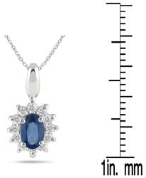 10k White Gold Sapphire and 1/5ct TDW Diamond Necklace (J-K, I1-I2)