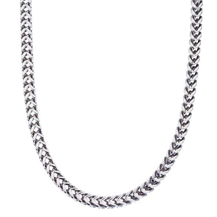 Stainless Steel Men's 24-inch Square Wheat Chain Necklace