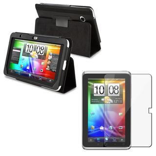 Black Leather Case/ Screen Protector for HTC Flyer
