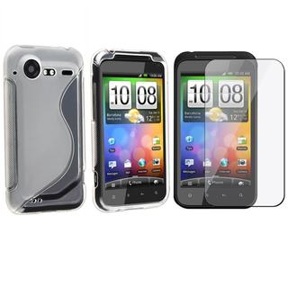White Frost TPU Case/ Screen Protector for HTC Droid Incredible 2/ S