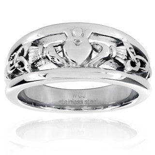 West Coast Jewelry Stainless Steel Tapered Claddagh Band
