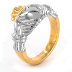 Elya Designs Two-tone Stainless Steel Claddagh Ring