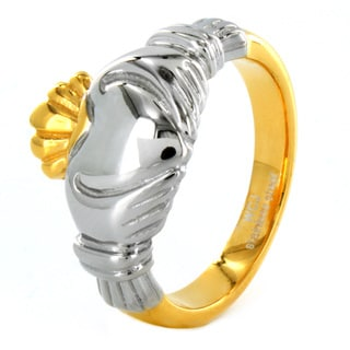 ELYA Two-tone Stainless Steel Claddagh Ring