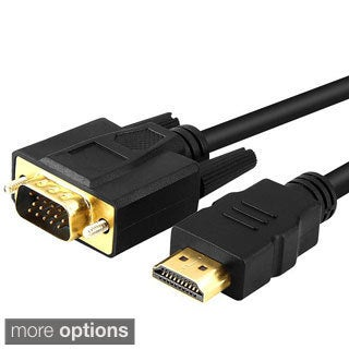 Six-foot Black VGA to HDMI Cable with Gold-plated Connectors