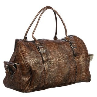 Athalon Brown Croc 22-inch Weekender Duffel Bag