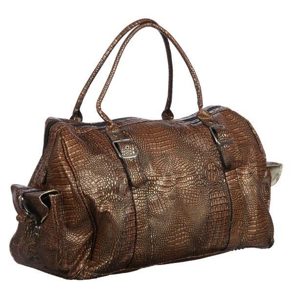 Athalon Brown Croc 22-inch Weekender Duffel Bag