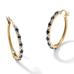 Angelina D'Andrea Gold over Silver Sapphire and Diamond Accent Earrings