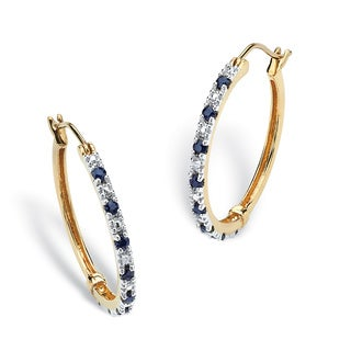 PalmBeach .82 TCW Genuine Midnight Blue Sapphire Hoop Earrings in 18k Gold over Sterling Silver
