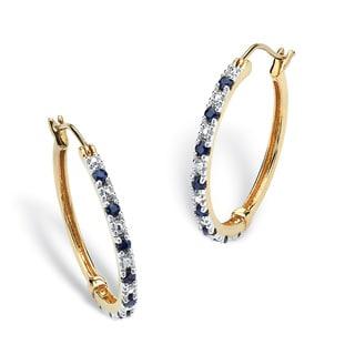 PalmBeach .82 TCW Genuine Midnight Blue Sapphire Hoop Earrings in 18k Gold over Sterling Silver