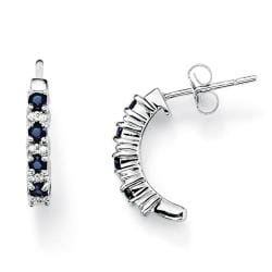 PalmBeach 10k White Gold Sapphire and Diamond Accent Earrings