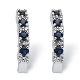 PalmBeach 3/8 TCW Round Genuine Blue Sapphire and Diamond Accent 10k White Gold Semi-Hoop Earrings