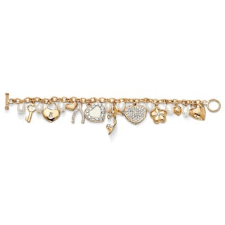 Lillith Star 14k Goldplated FW Pearl and Crystal Charm Bracelet