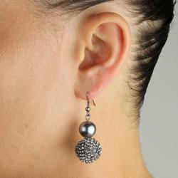 Lillith Star Black Rutherium Grey Simulated Pearl and Crystal Earrings