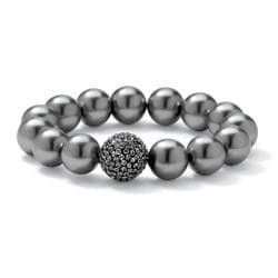 PalmBeach Black Ruthenium Grey Simulated Pearl and Crystal Bracelet Bold Fashion