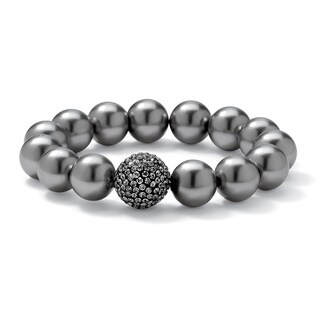 "PalmBeach Grey Pearl and Multi-Crystal Accent Black Rhodium-Plated Stretch Bracelet 8"" Bold Fashion"