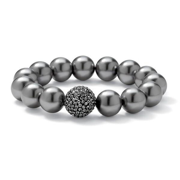 PalmBeach Black Ruthenium Grey Simulated Pearl and Crystal Bracelet Bold Fashion