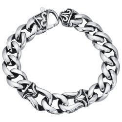 Stainless Steel Men's Fleur de Lis 8.5-inch Curb Link Bracelet