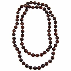 Pearlz Ocean Red Tiger's Eye 36-inch Knotted Necklace