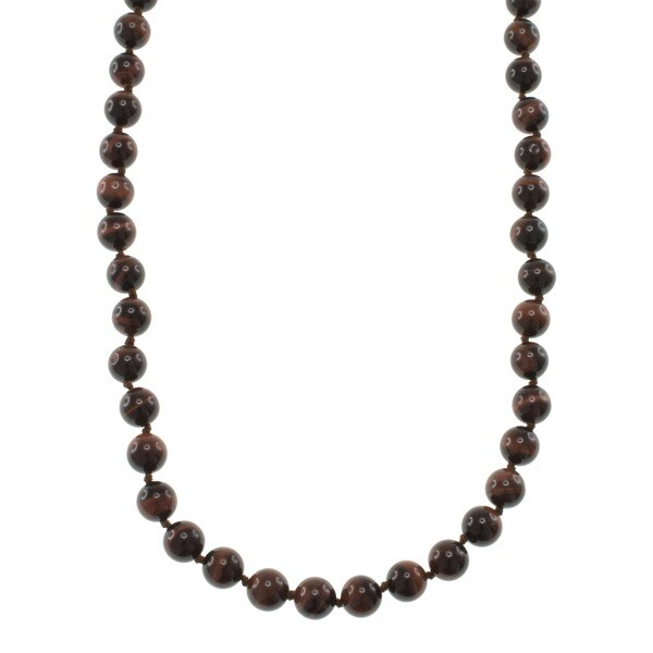 Pearlz Ocean Red Tiger's Eye Knotted Endless Necklace